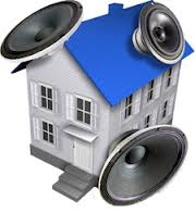 house with speakers